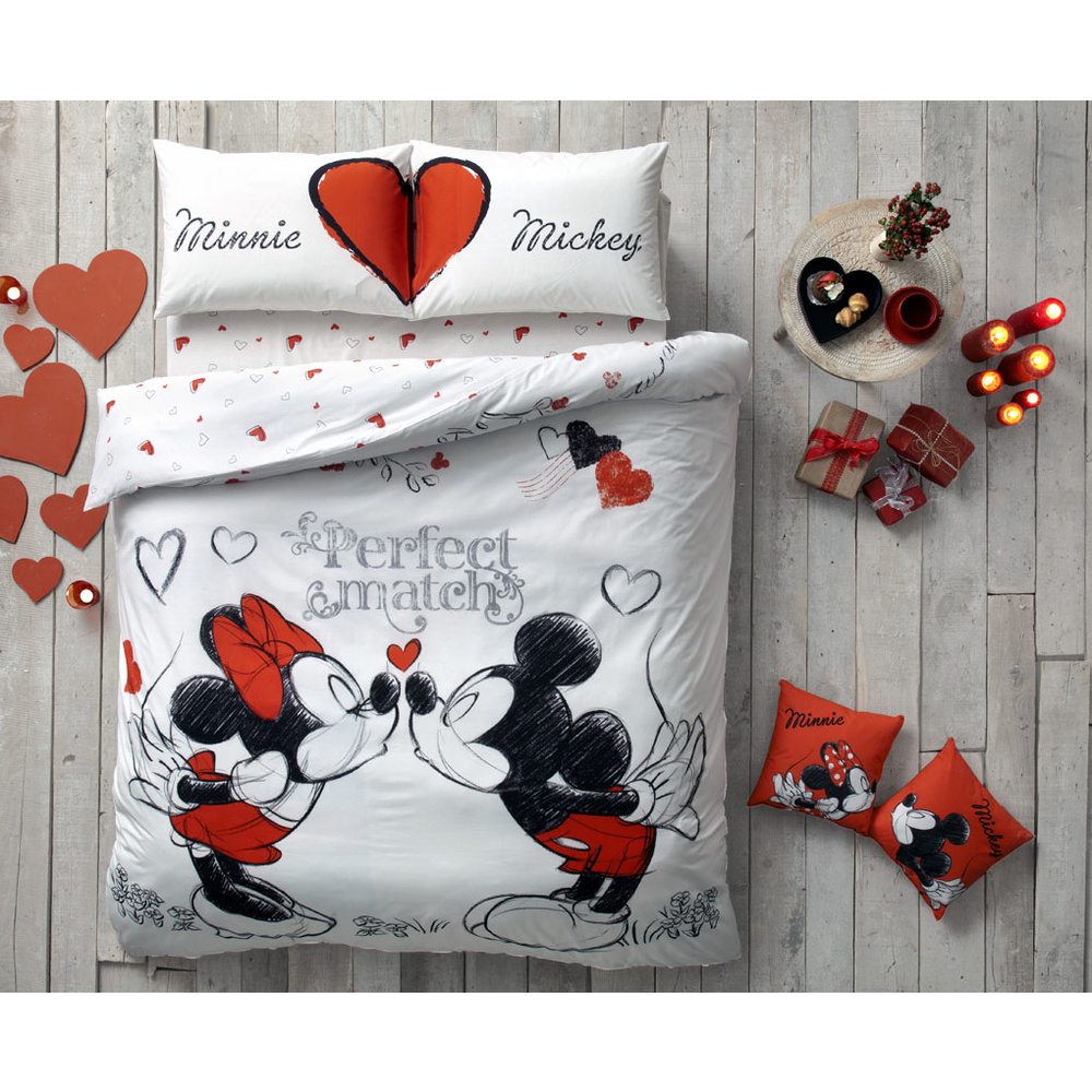 ta lisansl disney minnie mickey perfect match k nevresim tak m. Black Bedroom Furniture Sets. Home Design Ideas