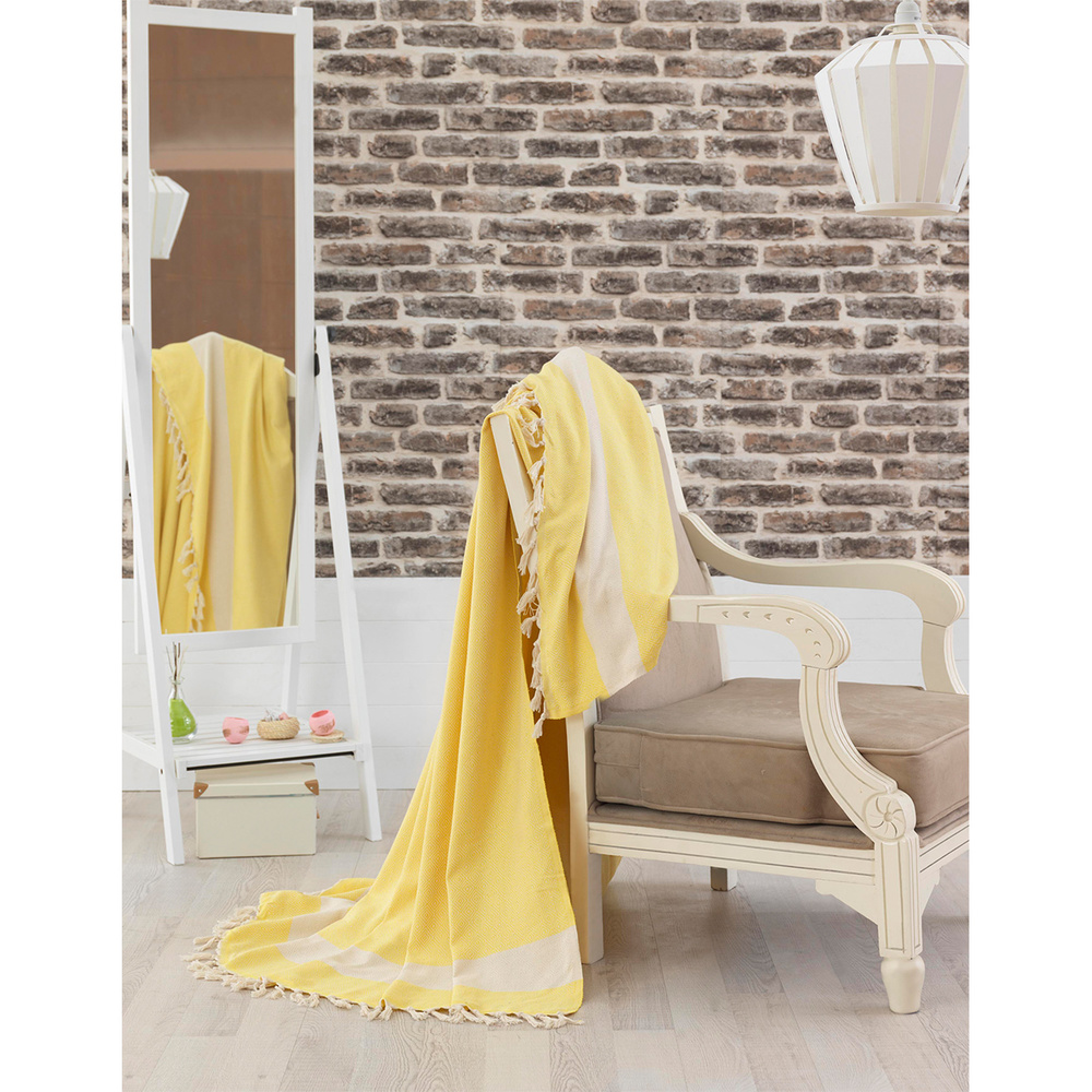 Eponj Home Natural Yatak Örtüsü Elmas Sarı Battal Boy Ürün Resmi