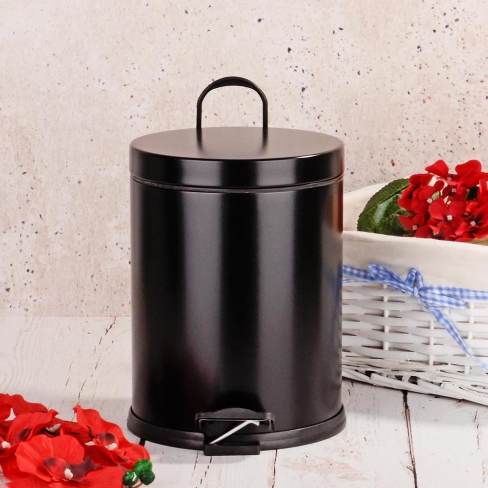 Hal0014 Metal Çöp Kovası Siyah