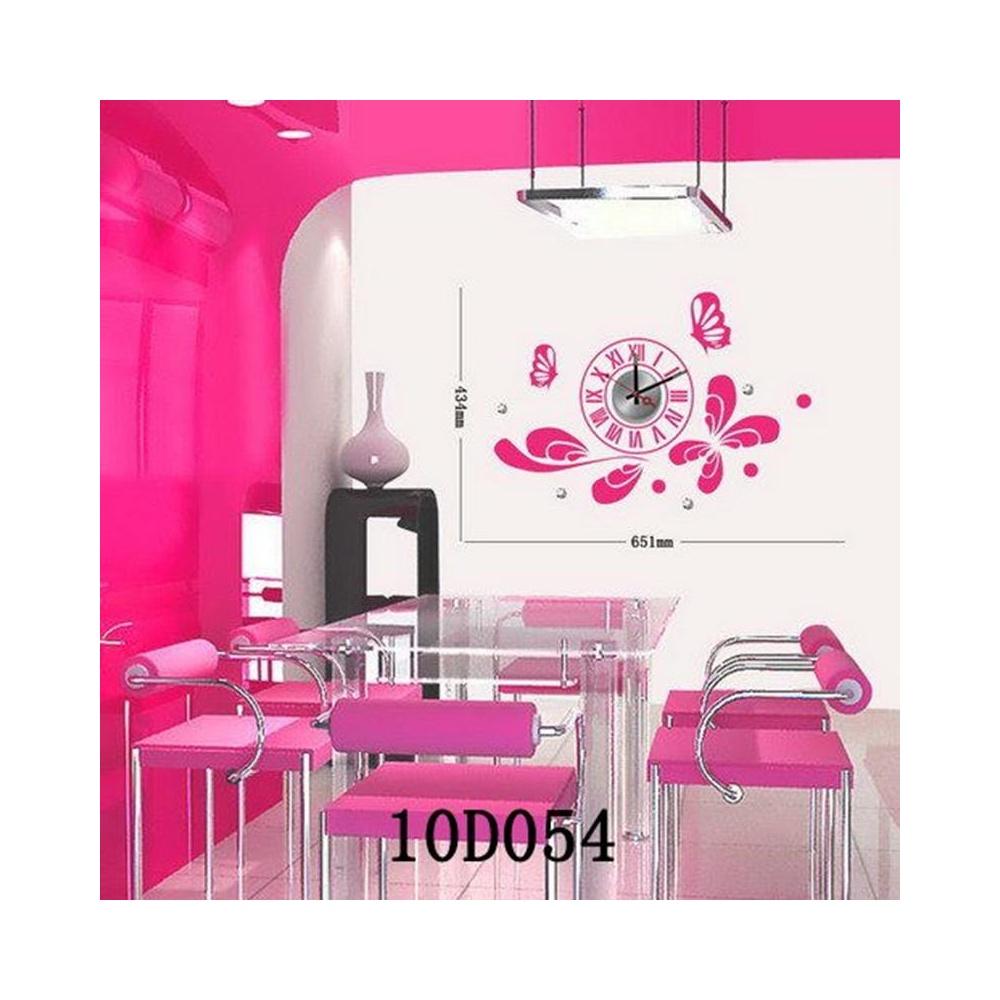 10D054 Sticker Yapıştırma Duvar Saati Pembe
