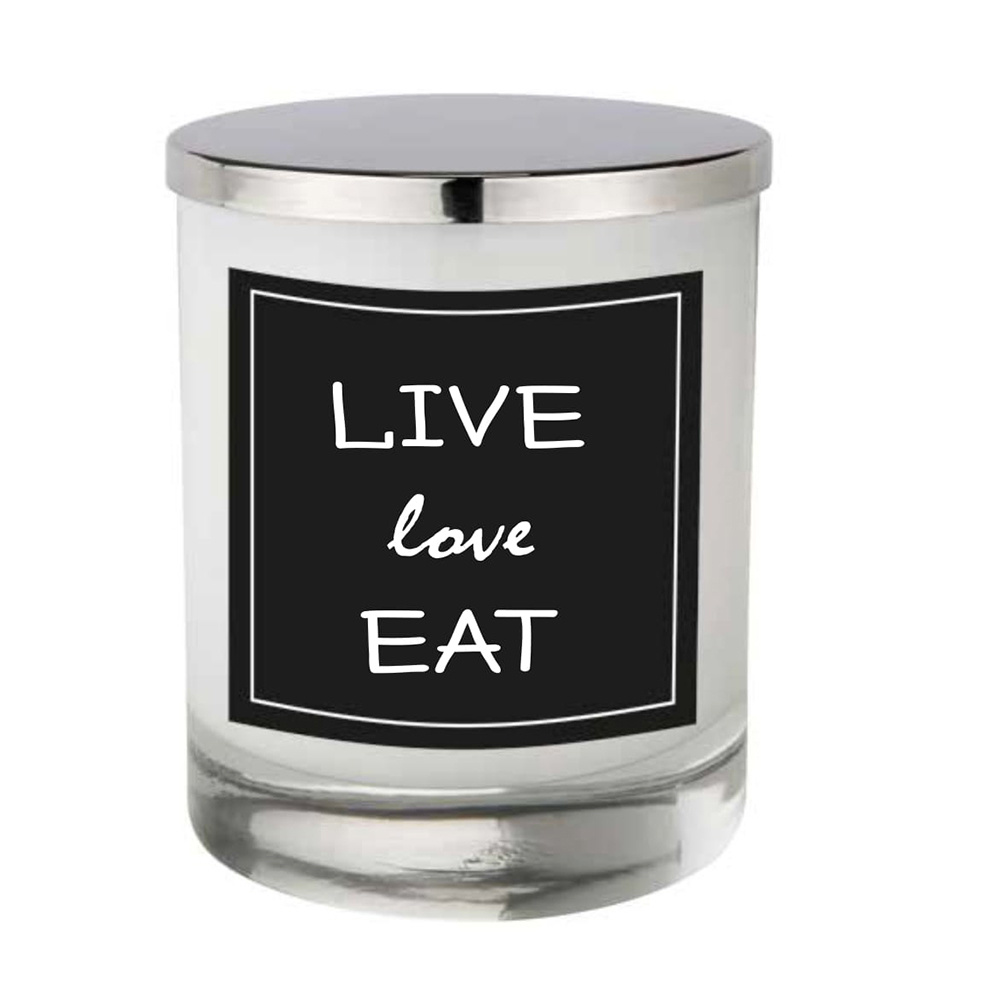 Lıve Love Eat Kapaklı Cam Mum