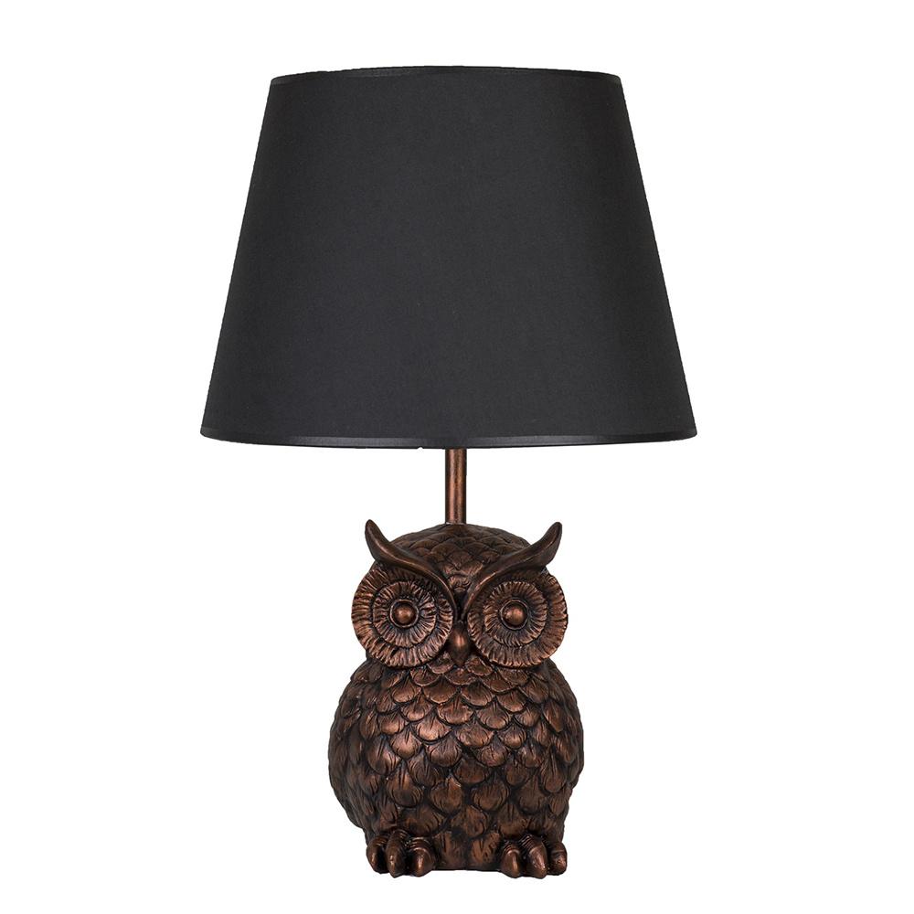 Modern Dizayn Baykuş Abajur Bakır Siyah