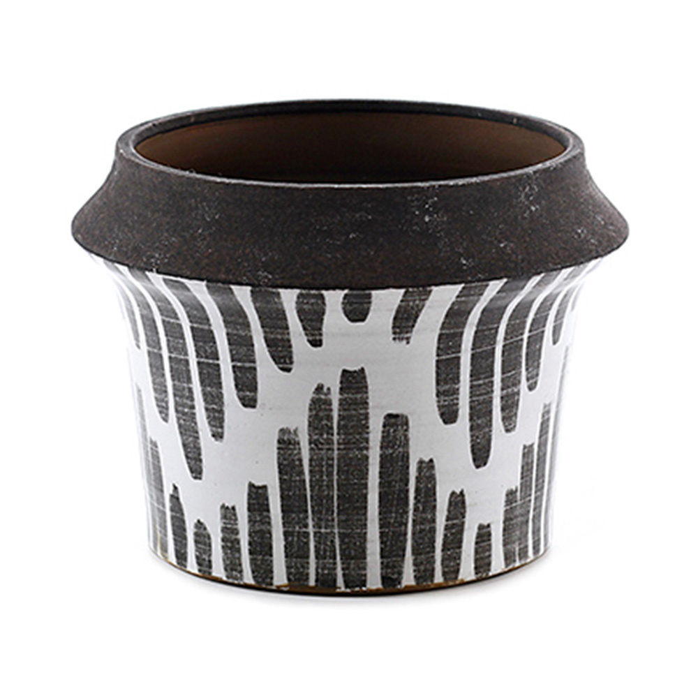 Decosuar Siyah /Beyaz Desenli Seramik Saksı Ürün Resmi