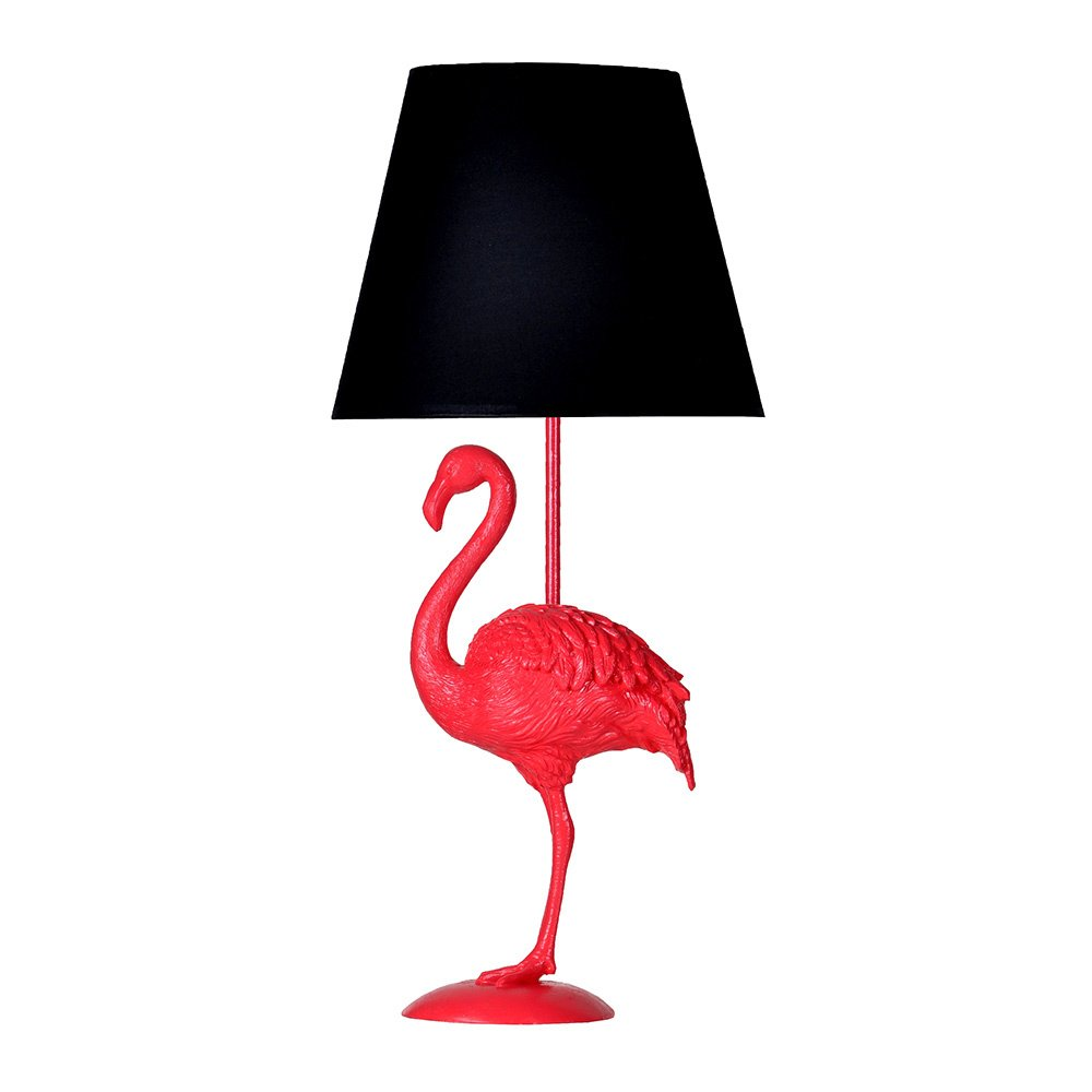 Modern Dizayn Flamingo Abajur Fuşya-Siyah