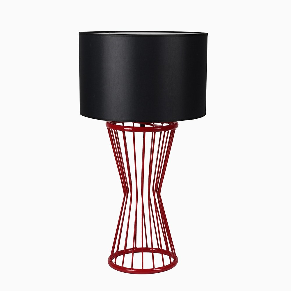 Baler Masa Lambası Kırmızı Ayak Silindir Skala Siyah Abajur
