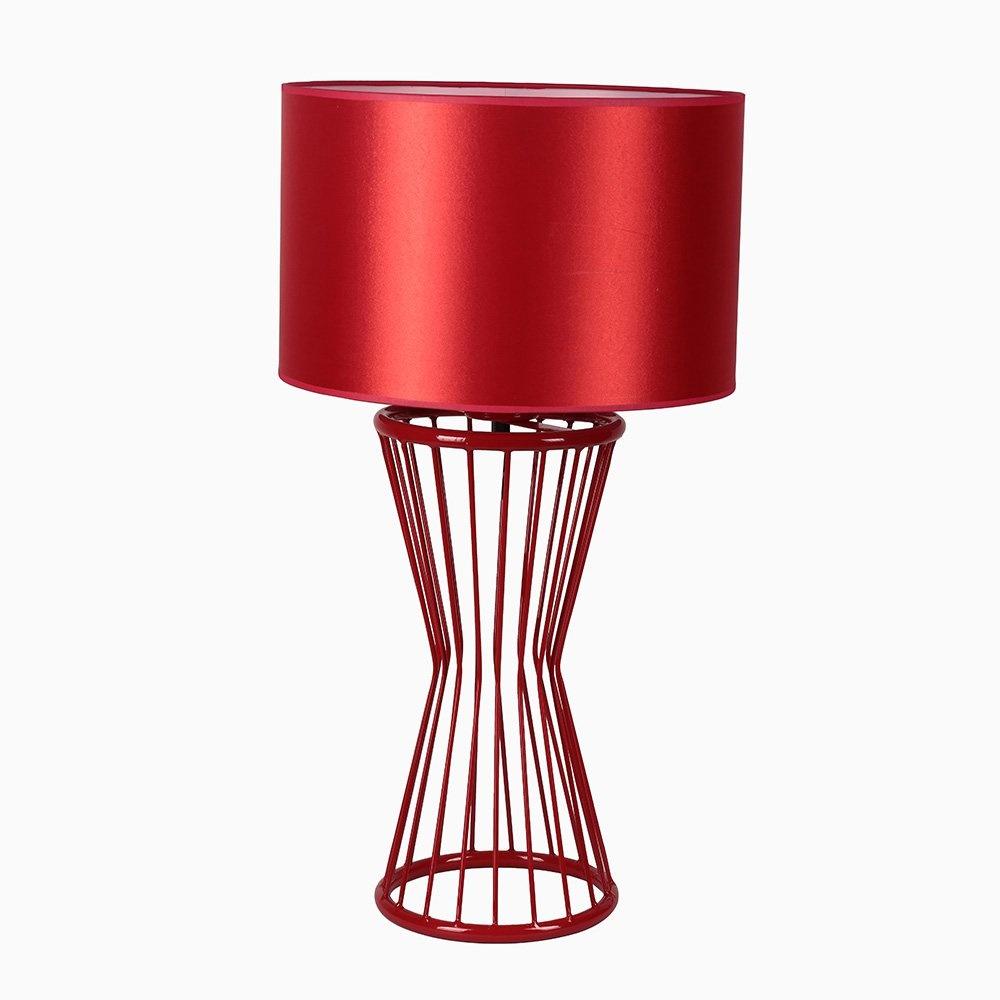 Baler Masa Lambası Kırmızı Ayak Silindir Skala Kırmızı Abajur
