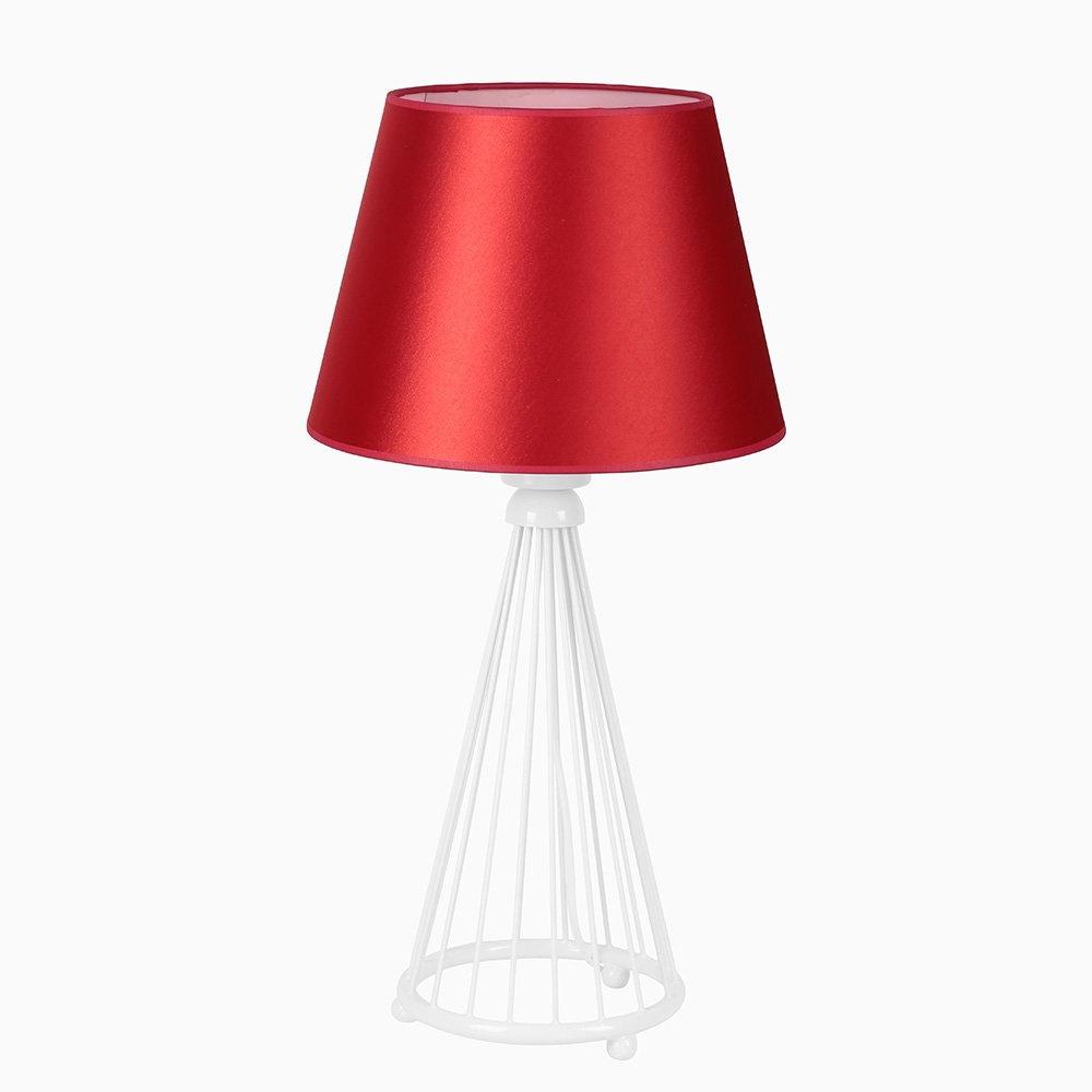 Akel Masa Lambası Beyaz Ayak Kırmızı Piramit Abajur