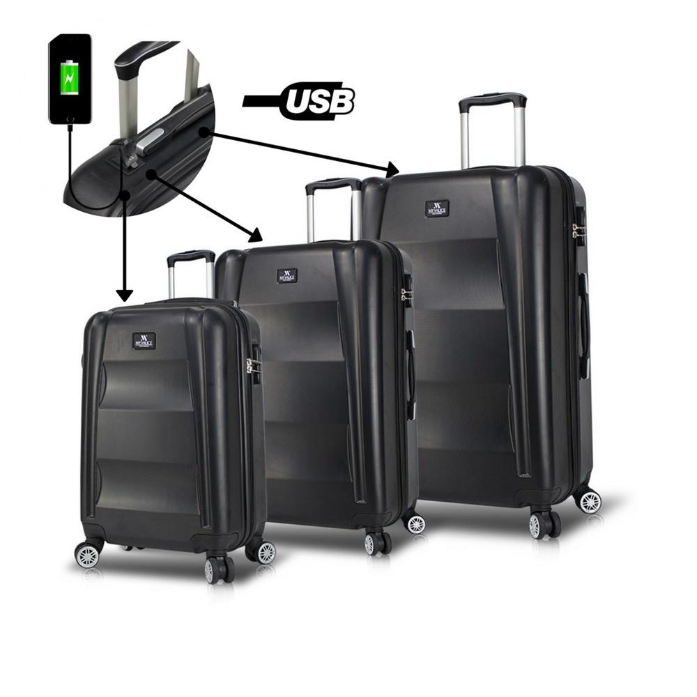 Smart Bag Exclusive Usb Şarj Girişli 3'lü Valiz Seti Siyah
