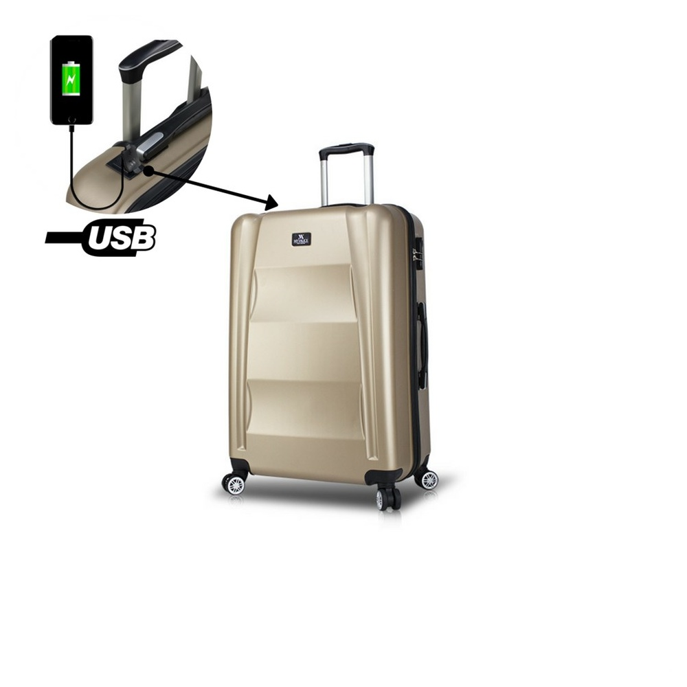 Smart Bag Exclusive Usb Şarj Girişli Orta Boy Valiz Gold