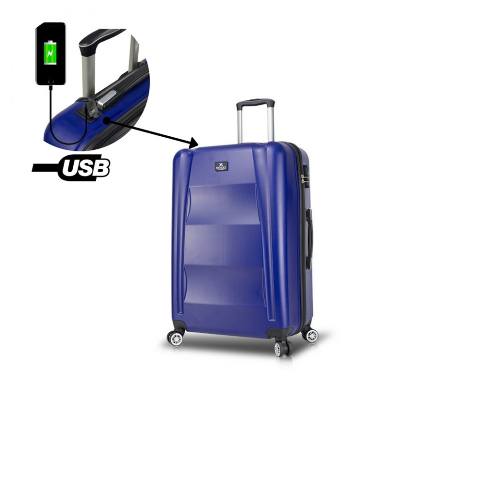 Smart Bag Exclusive Usb Şarj Girişli Orta Boy Valiz Lacivert