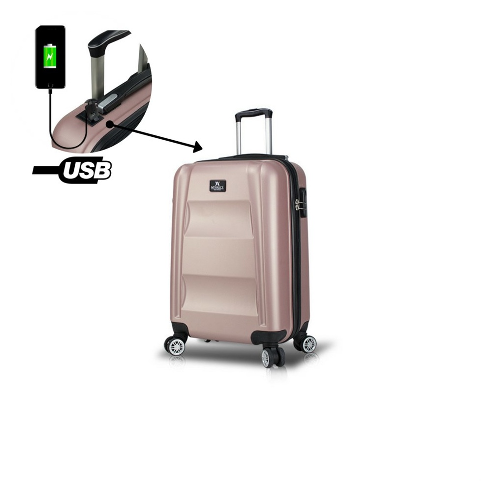Smart Bag Exclusive Usb Şarj Girişli Kabin Boy Valiz Rose