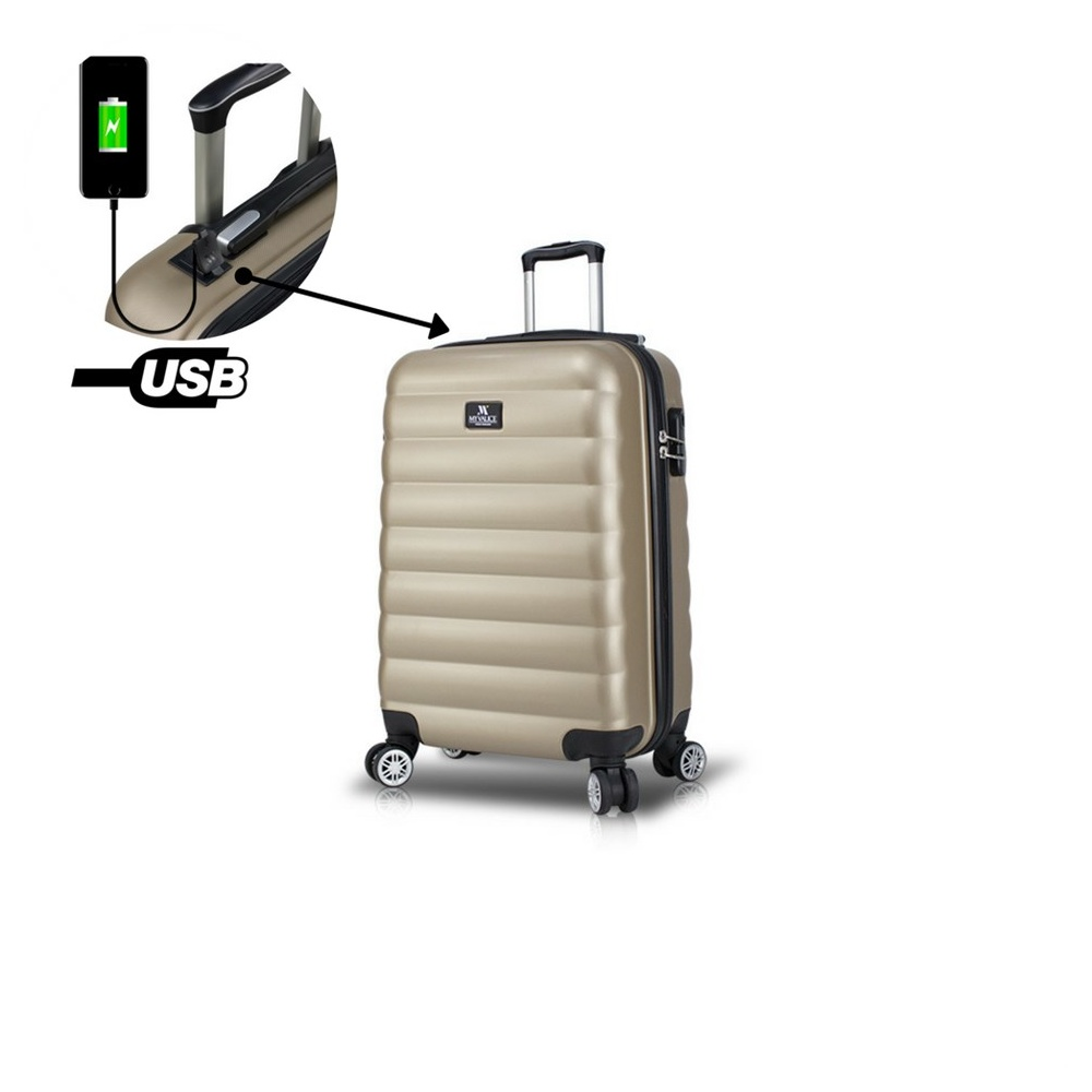 Smart Bag Colors Usb Şarj Girişli Kabin Boy Valiz Gold