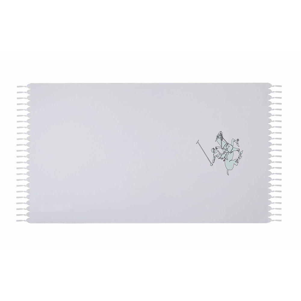 Plaj Havlusu Saçaklı 90x170(1) Mint Logo Baskılı Beyaz