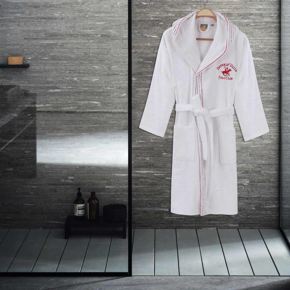 Kadın Kapşonlu Bornoz Pamuk XS/S Nakışlı Kırmızı-Beyaz