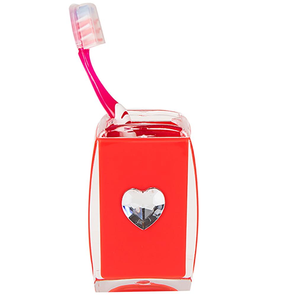 Diş Fırçalık Kırmızı Kalpli Banyo Aksesuarı