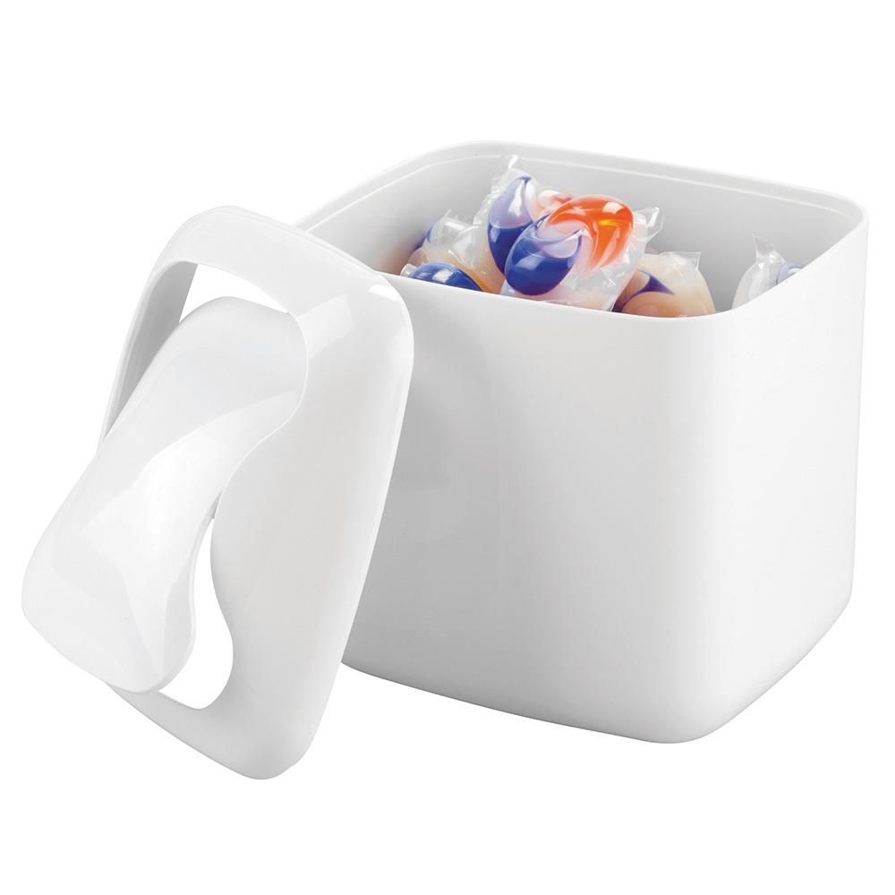 Tezgah Üstü Kapaklı Mini Çöp Kovası Beyaz Renkli Banyo Aksesuarı