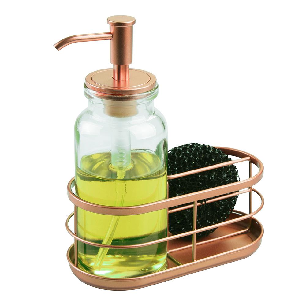 Sünger Hediyeli Pirinç Malzeme Süngerlikli Altın Renkli Pompalı Sıvı Sabunluk