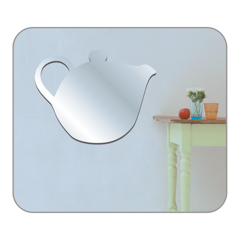 Duvar Süsü Aynalı (Sticker) Çaydanlık Şekilli Duvar Dekoratif Süsü