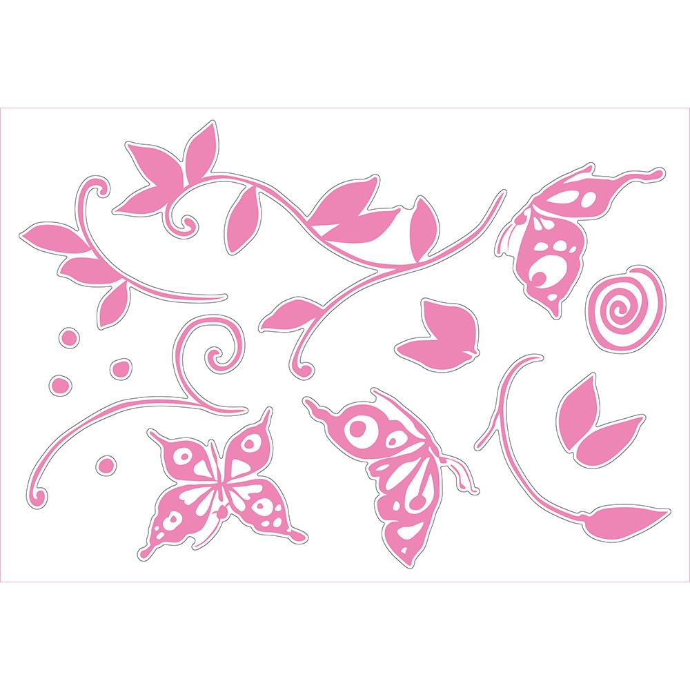 Bosphorus Duvar Süsü (Sticker) Pembe Kelebekli Şeffaf Filmli Duvar Dekoratif Süsü Ürün Resmi