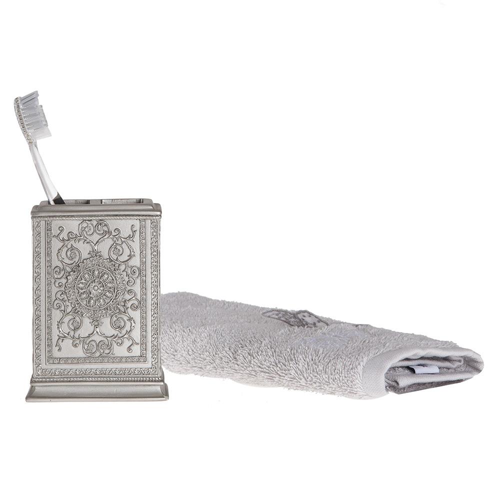 Diş Fırçalık Dekoratif İşlemeli Gümüş Model Banyo Aksesuarı