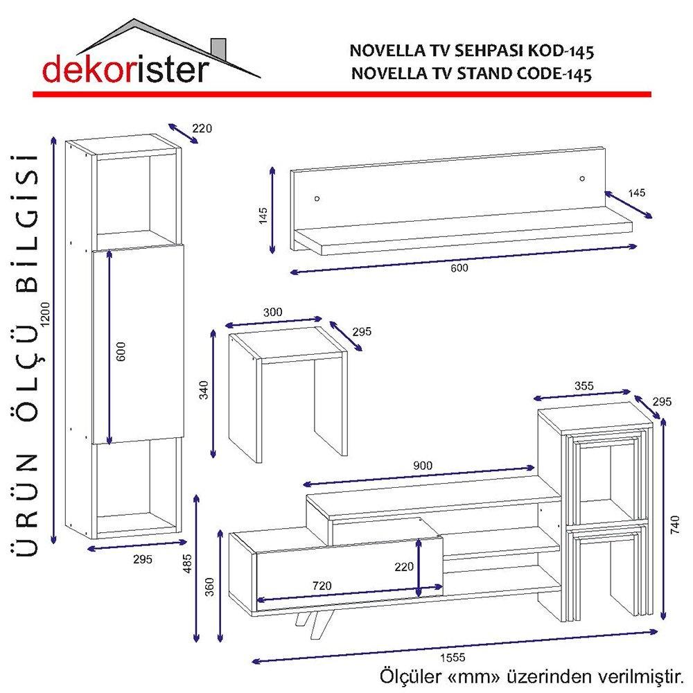 Novella K145 Tv Ünitesi Beyaz-Ceviz