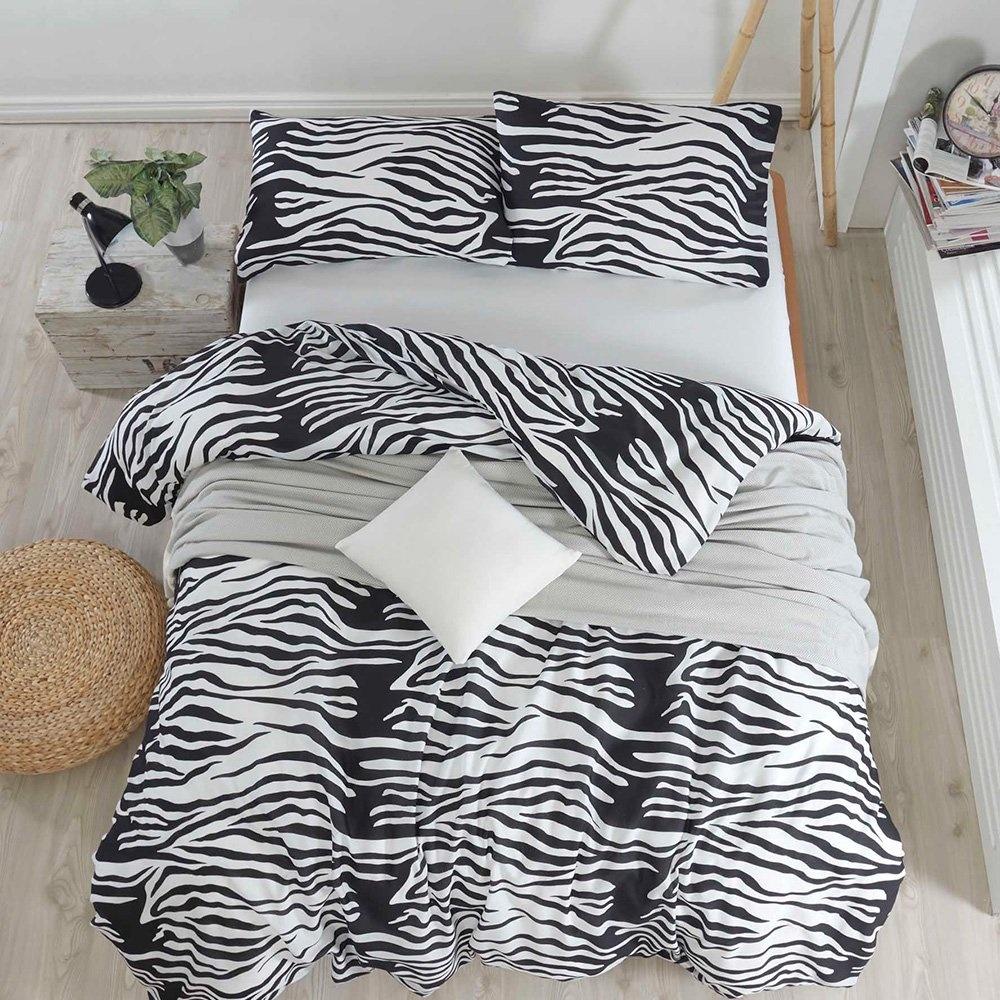 Eponj Home Kolay Ütülenir Nevresim Takımı Tek Kişilik B&W Zebracasa Siyah-Beyaz Ürün Resmi