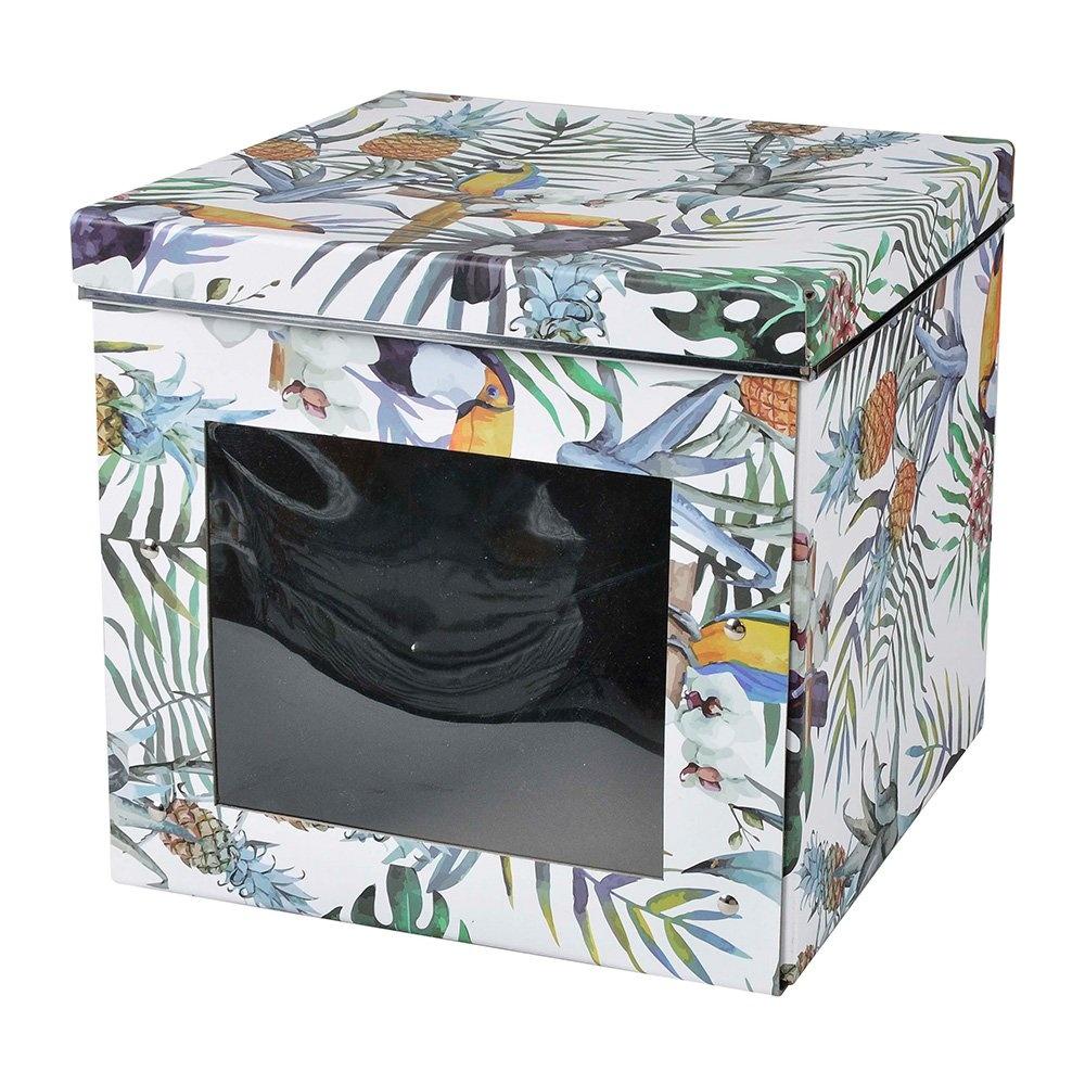 Bosphorus Tropikal Desenli Kapaklı Katlanabilir Pencereli Karton Kutu Ürün Resmi