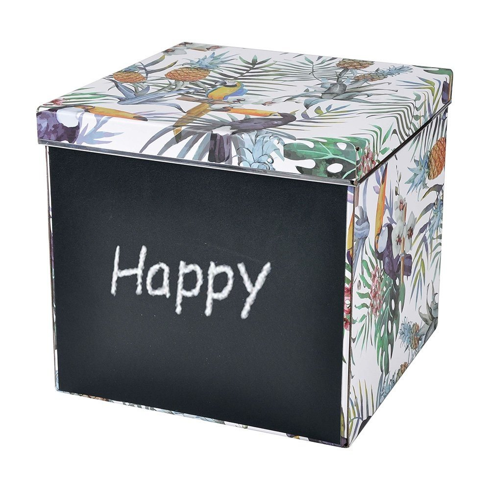Bosphorus Tropikal Desenli Kapaklı Katlanabilir Yazı Tahtalı Karton Kutu Ürün Resmi