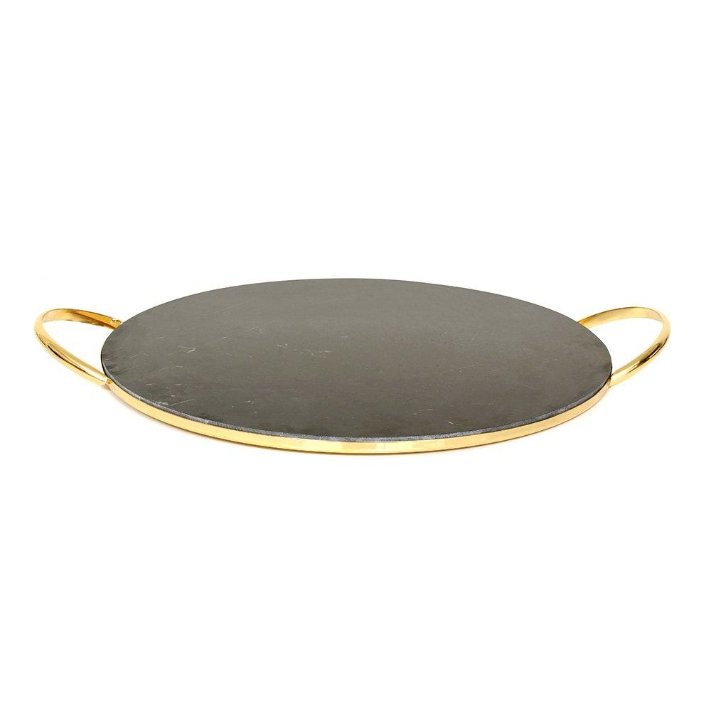 Gold Kaplama Yuvarlak Siyah Mermer Tepsi 35 Cm