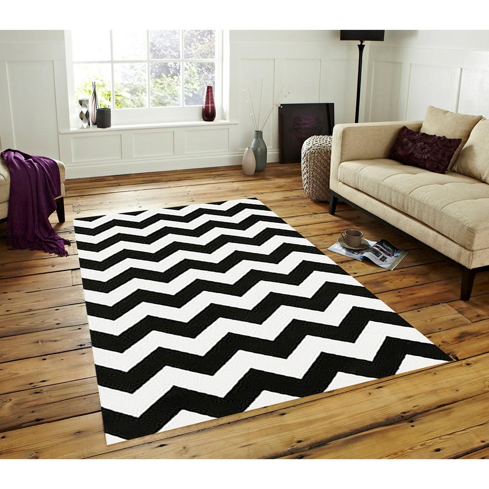 Zigzag Siyah Dijital Baskı Halı 80X300