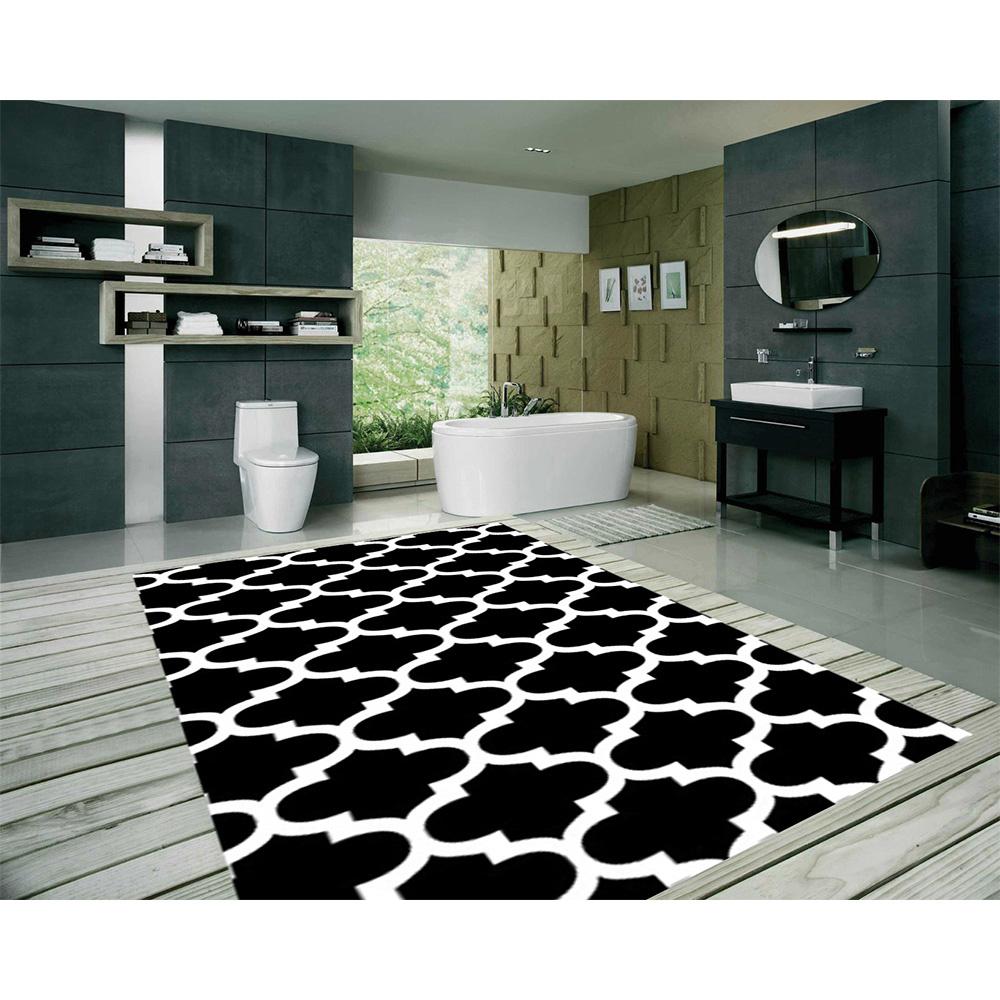 Petek Siyah Dijital Baskı Halı 100X200