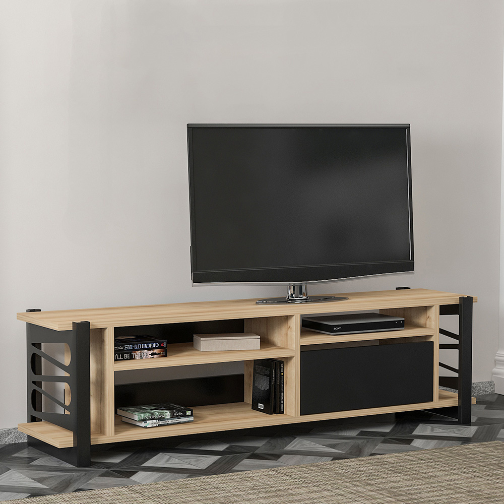 Loop Tv Ünitesi Metal Ayaklı 140Cm - Safir-Siyah