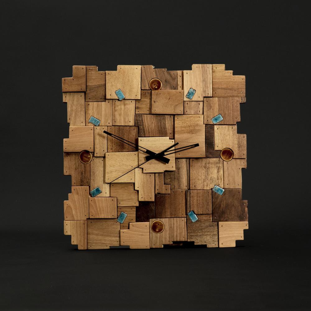 Gugar Wood Yamalı Ahşap Saat (Ceviz Ağacı) Ürün Resmi