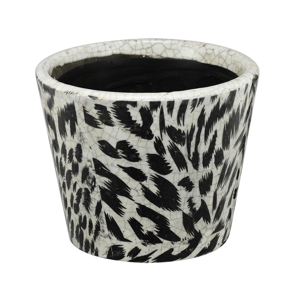 Decosuar Siyah /Beyaz Seramik Saksı Ürün Resmi