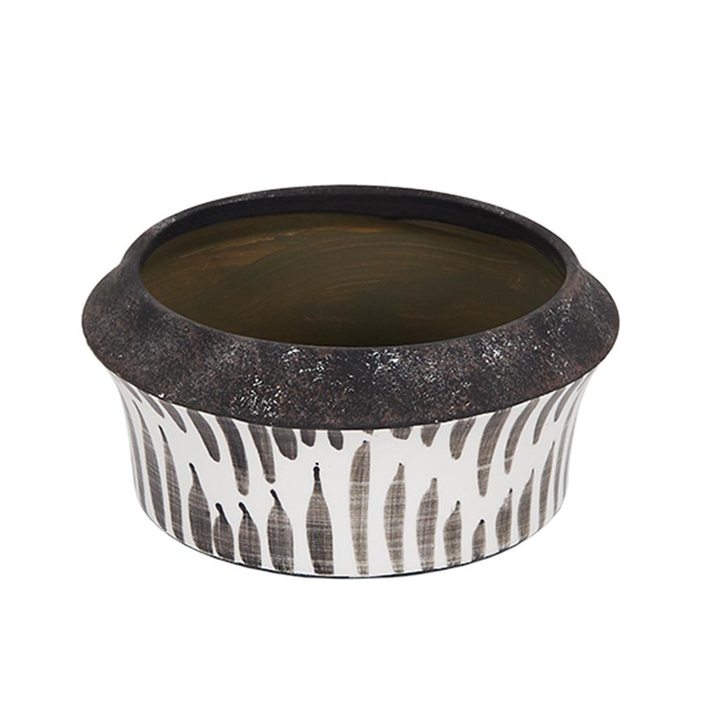 Decosuar Siyah /Beyaz Desenli Seramik Saksı - Büyük Ürün Resmi