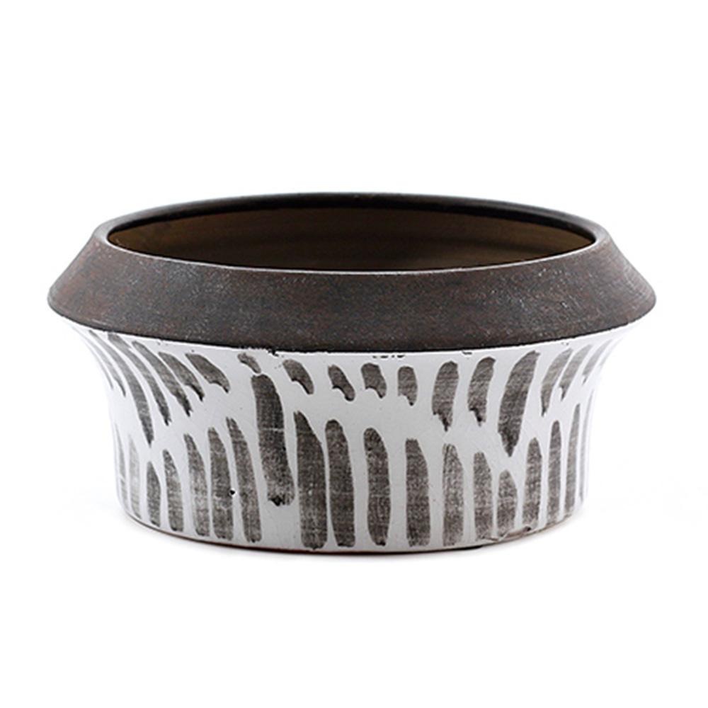 Decosuar Siyah /Beyaz Desenli Seramik Saksı - Küçük Ürün Resmi