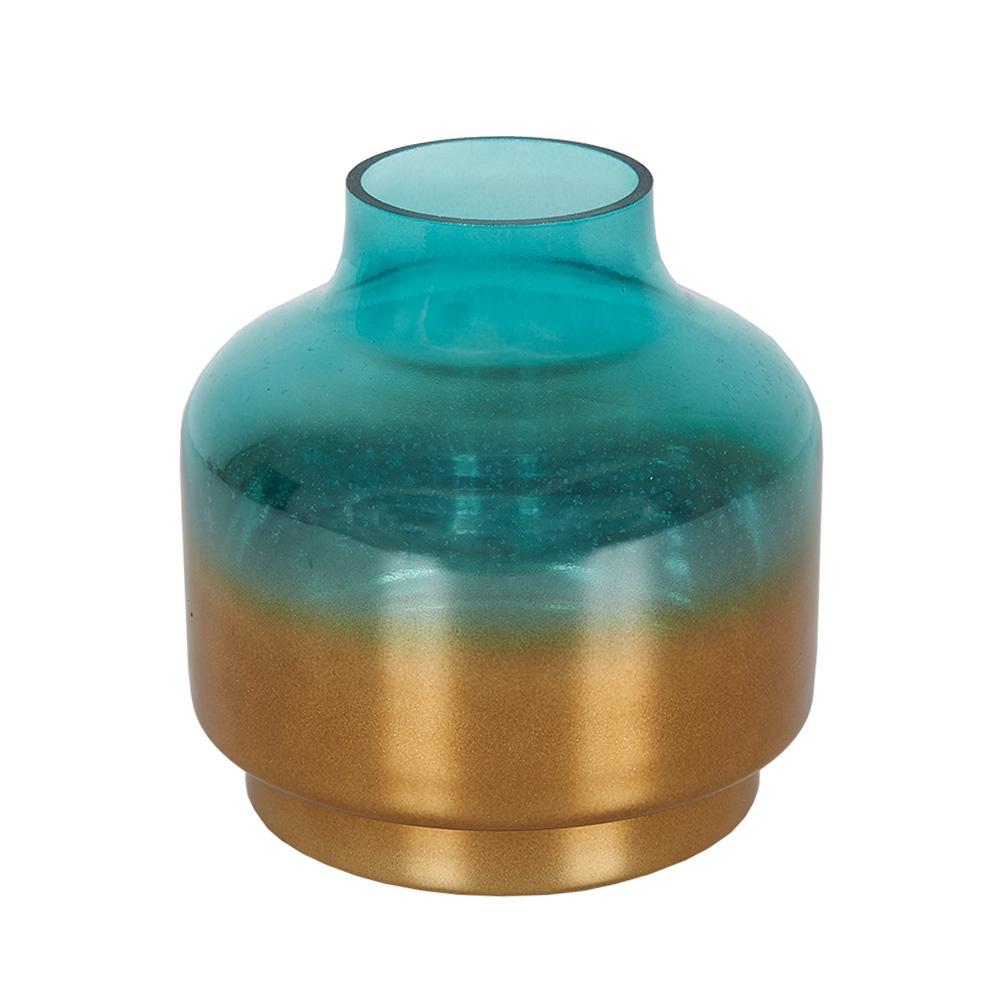 Decosuar Çift Renkli Mavi/Altın Sarısı Cam Vazo - Küçük Ürün Resmi