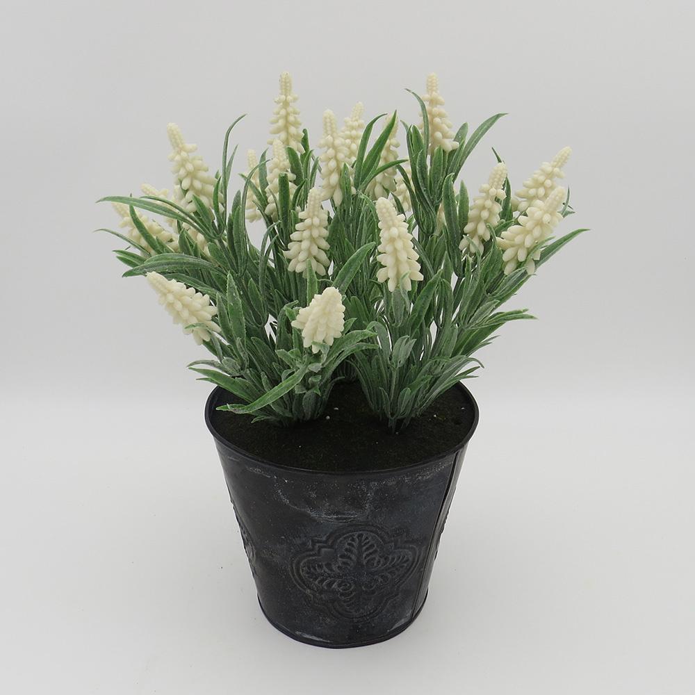 Decosuar Siyah Metal Saksılı Beyaz Yapay Çiçek Ürün Resmi