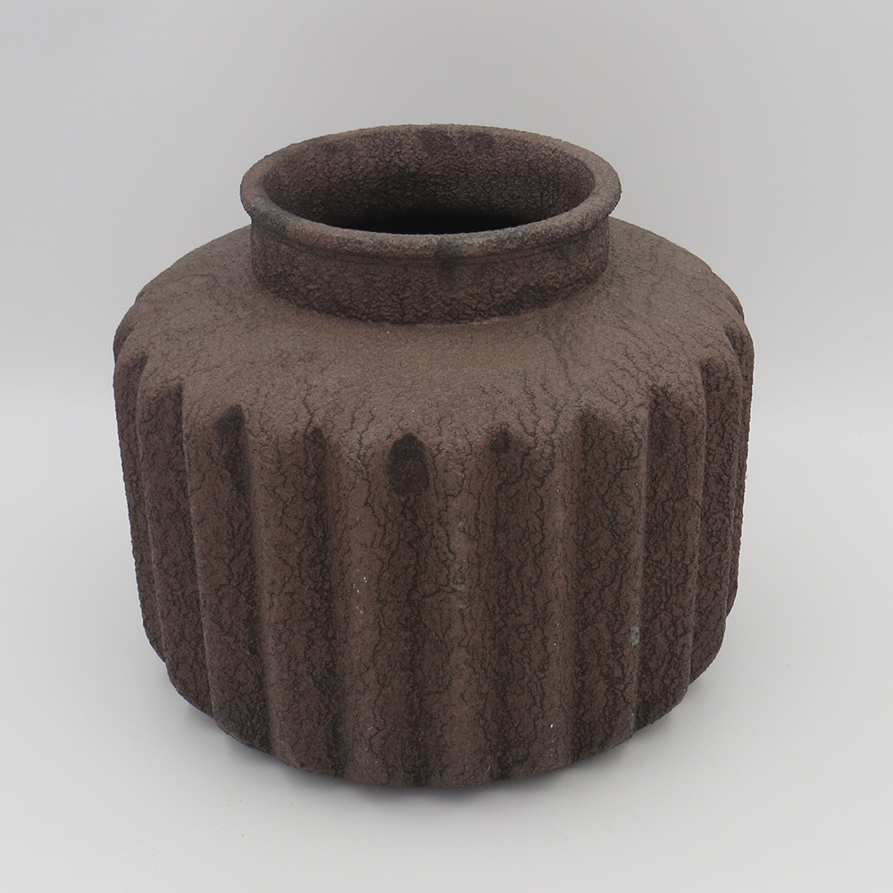 Decosuar Tırtıklı Kahverengi Eskitme Vazo Ürün Resmi