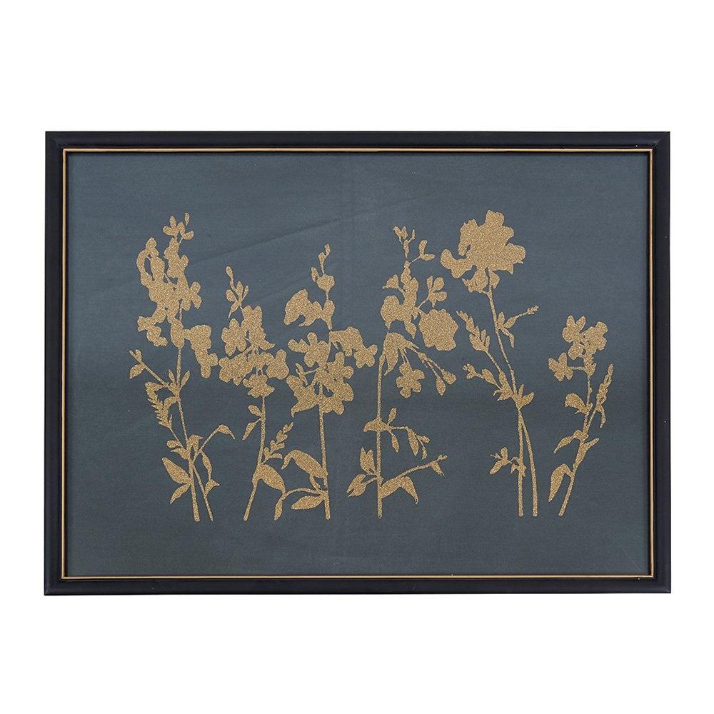 Decosuar Kanvas Üzeri Metalik Çiçekler, Köknar Ağacından Çerçeve Ürün Resmi